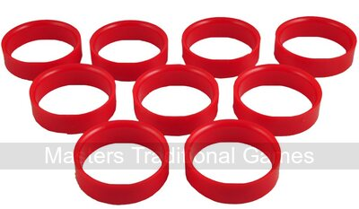 Set 9 Bar Billiards hole lining rings - red