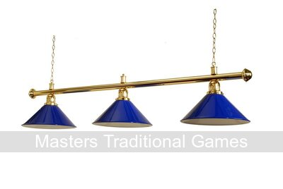 58 inch Table Shade - Brassed with 3 Blue Coolie Shades