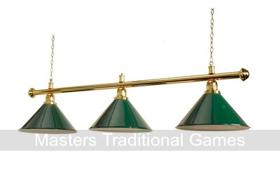 58 inch Table Shade - Brassed with 3 Green Coolie Shades