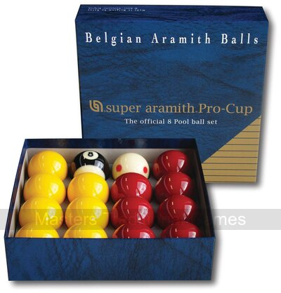 Super Aramith Pro Cup League Pool Balls (2 inch with 1 7/8 inch white)