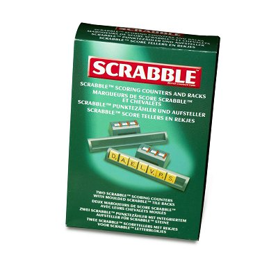 Pair of Scrabble tile racks with rotating dial score markers