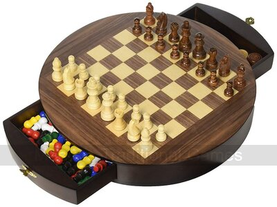 Round 3-in-1 Game Set - Chess, Draughts & Chinese Checkers