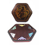 Chinese Checkers in Leatherette Box (Dragon & Phoenix Design)