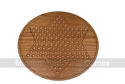 Round Mahogany Chinese Checkers - 30cm with glass marbles