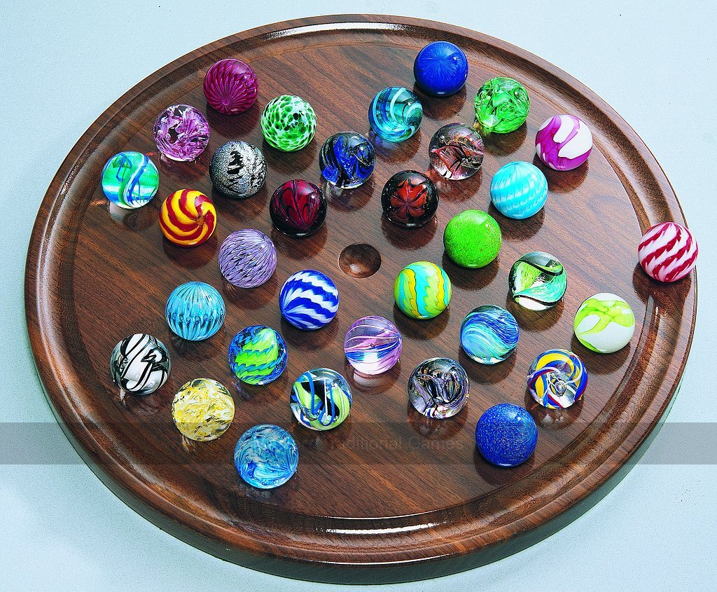 Handmade Oak Board with Assorted Giant Marbles Large Masters Luxury Solitaire