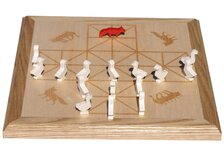 Inlaid Fox and Geese board with painted wooden animal pieces