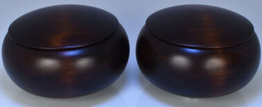 Wooden Go Bowls - Pair, Linden Wood, Extra Dark Stain Finish