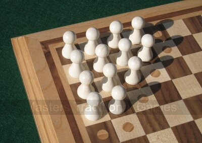 Hand-made Halma board with wooden pawns and rules