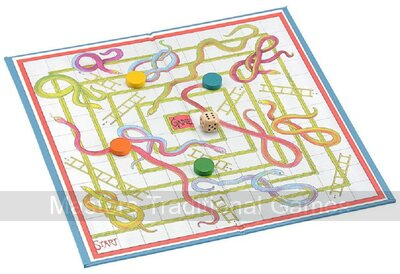 Snakes & Ladders Card & Linen Board Game (15 inch)