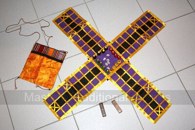 Pachisi (Orange/Purple board - beehive pieces, long dice and cowries)