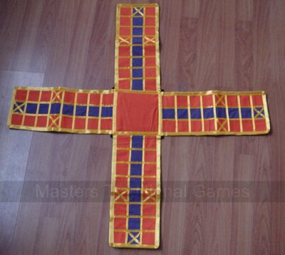 Pachisi - (cloth board, beehive pieces, long dice and cowries)