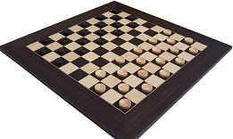 Large 10 x 10 Wenge & Maple Chequerboard with Draughts