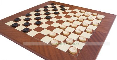 Large 10 x 10 Mahogany & Maple Chequerboard with Draughts