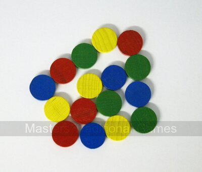 16 disks for Ludo,Uckers or Pachisi (19 x 6mm)with pair of dice