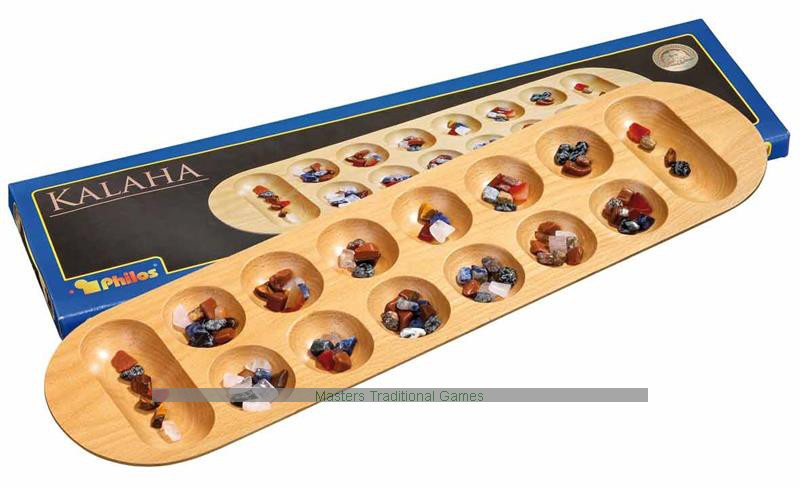 Philos Large Mancala Kalaha Stunning Game With Stones And Wooden Board