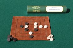 Nine Men's Morris - leather board with wooden pieces