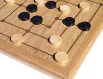 Oak Nine Mens Morris board with wooden pieces