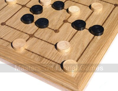 Inlaid Nine Mens Morris board with wooden pieces