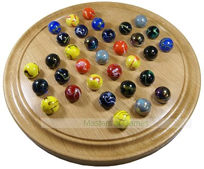 Large Hand-Made Solid Oak Solitaire Board With Assorted Marbles