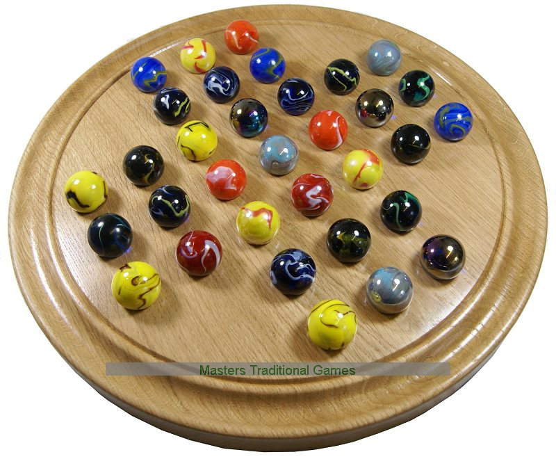 Large Handmade Solid Oak Solitaire Board With Assorted Marbles