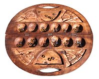 Ornate Carved Circular Mancala / Oware Game