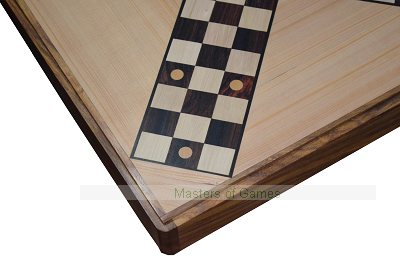 Hand Made Pachisi inlaid board in wooden box with beehive pieces and cowries
