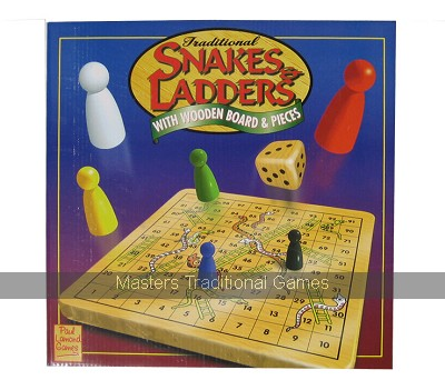 Traditional Snakes and Ladders - Wooden Board and Pieces
