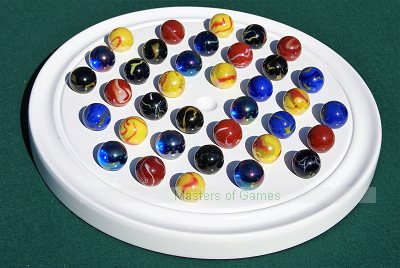 Hand-Made White French Solitaire Board With Assorted Marbles
