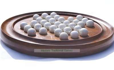 Nauticalia Wooden Solitaire Board With Marbles