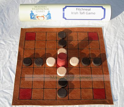 Irish Brandubh - replica medieval leather board with wooden pieces