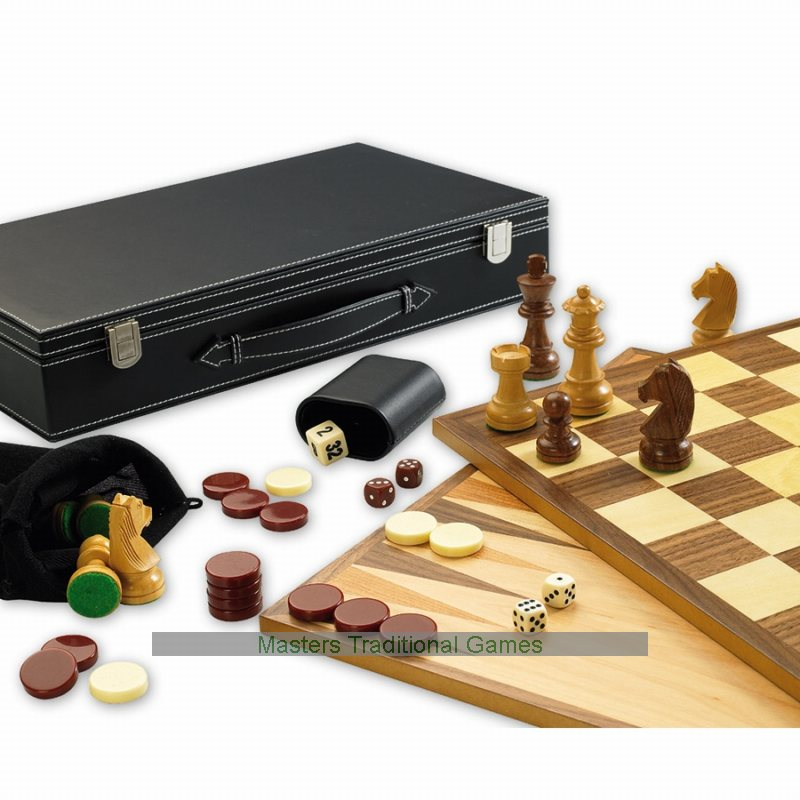 Deluxe 3 In 1 Games Set Chess Draughts Amp Backgammon