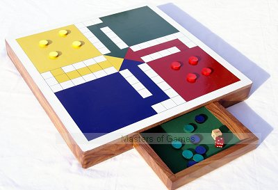 Hand Made Uckers board with storage cabinet and vinyl playing surface