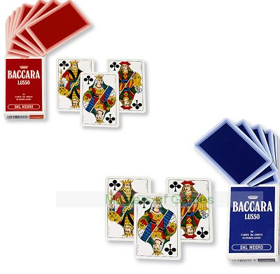 2 x Packs of Dal Negro Baccara Playing Cards (Blue and Red)