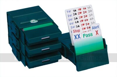 Bridge Partner - Set of 4 Bridge Boxes with Bidding cards (Green)