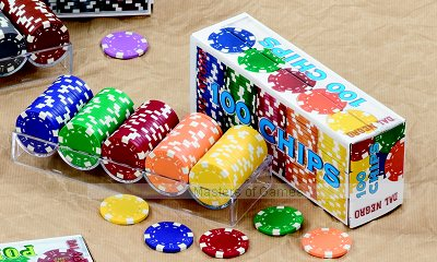 100 Dal Negro Casino Chips (11.5g, dice pattern, blue, green, red, orange, yellow)