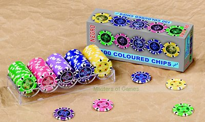 100 Dal Negro Casino Chips (14.5g, coloured, green, pink, mauve, purple, yellow)