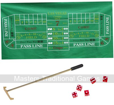 Craps Set - Craps Layout, Precision Dice, Chip Rake and Chips