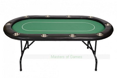 10 Person Pro Poker Table with Folding Metal Legs and Betting Line � Green