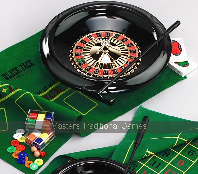 16 inch Roulette Wheel with Mat, Ball, Chips , Rake and Rules
