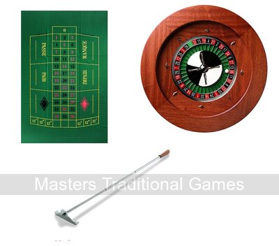 Premium Roulette Bundle (Montecarlo curved side Wheel, single 0 European Mat)