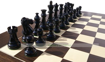 Jester 10 x 10 Chess set - Black/Natural in Black Leather Box (3.75 inch King, no board)