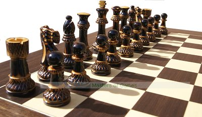 Jester 10 x 10 Chess set - Burnt wood in black Satinwood Box (3.75 inch King, no board)
