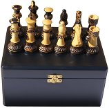 Jester 10 x 10 Chess set - Burnt wood in black Satinwood Box