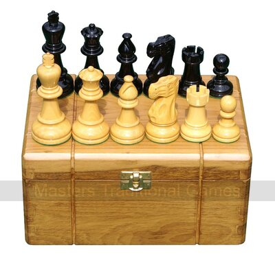 Premium Boxwood Staunton Chess Pieces in Teak Storage Box