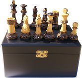 Burnt wood Chess Pieces in Black Satinwood Box