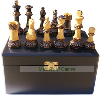 Burnt Wood Chess Set in Black Satinwood Box