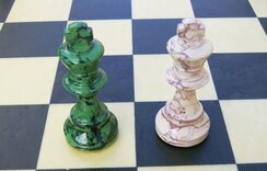 Green & Cream Lacquer Chess Set by Dal Negro