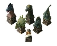 Hand Painted Dinosaur Chess Pieces