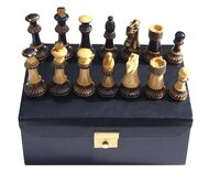 Jester 10 x 10 Chess set - Burnt wood in Black Leather Box (3.75 inch King, no board)