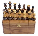 Jester 10 x 10 Chess set - Burnt wood in Teak Box (3.75 inch King, no board)